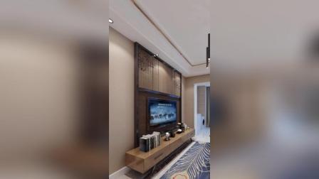 现代风装修, 暗木电视柜, 金纹墙面装饰!