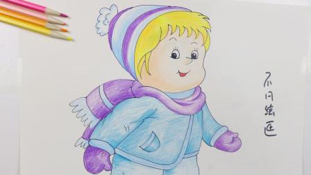 冬天的小女孩简笔画,宝宝们可以学习的卡通人物画