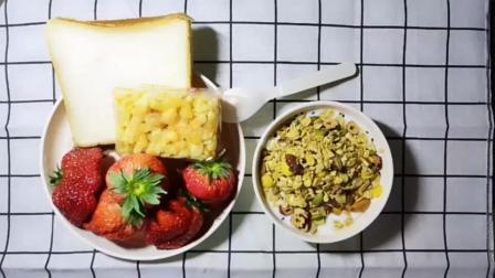 吃播 大+酸奶坚果麦片+面包片+沙琪玛