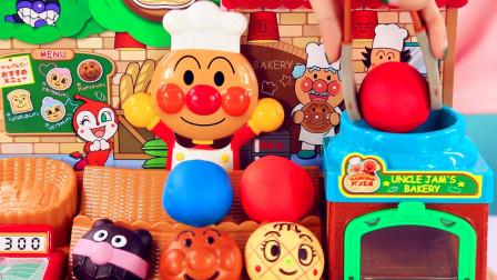 兜糖面包超人玩具 葫芦娃面包超人彩泥面团获得美味食物奇趣蛋