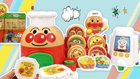 月采面包超人玩具 面包超人披萨店套装多种口味披萨吐司超人外卖车