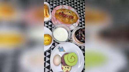 蛋挞+甜甜圈+肉松蛋夹+毛巾卷+牛奶