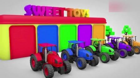 创意早教: 卡通蜘蛛侠开上货车运送彩色足球 动画学颜色