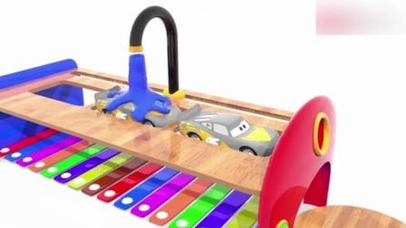 创意早教: 卡通玩具赛车麦昆 被各种染色 动画学颜色
