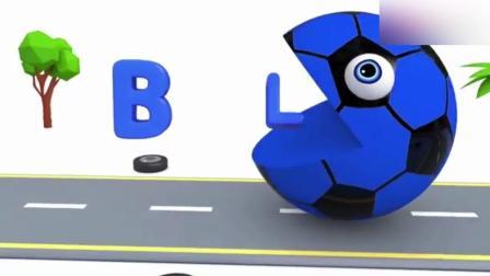创意早教: 卡通汽车遇上大嘴足球反被追 动画学英语 颜色