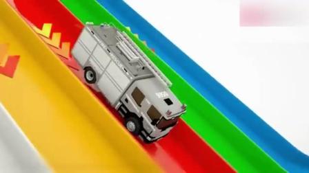 创意早教: 卡通汽车玩具通过滑梯撞击球瓶动画学颜色