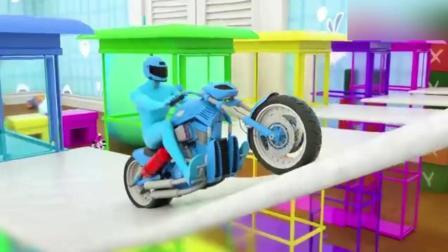 创意早教: 卡通摩托车闯关小游戏 小动画学颜色