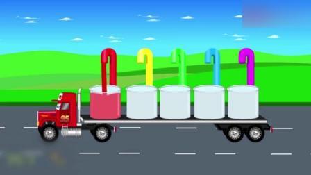 创意早教: 卡通铲车翻斗车火车头拖拉机染色小动画学颜色