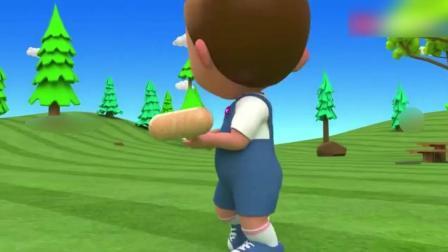 早教动画: 玩具小动物摆出是个洞口, 萌宝宝练习踢足球学习各种颜色和数字