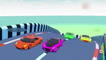 早教动画: 小汽车闪电麦昆在环形轨道上赛跑学习各种颜色名称