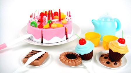 切蛋糕 草莓水果 下午茶 巧克力饼乾 扮家家酒 杯子樱桃蛋糕 玩具开箱