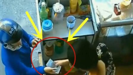 女子帮人捎饭,要不是监控拍下,不知女子竟是如此无耻