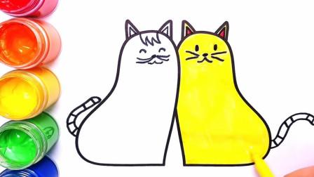 幼儿简笔画 两只可爱的猫咪