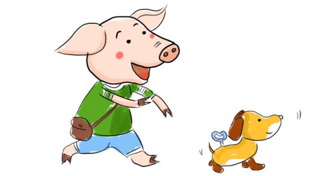 小范亲子简笔画 粉红小猪和电动玩具狗儿童