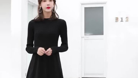 半高领打底针织连衣裙,女装冬加厚毛衣裙,过膝长款黑色A字大摆裙子
