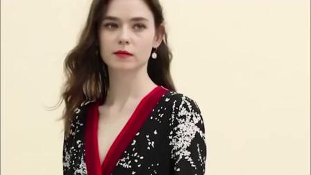 2019春装新款,女装真丝连衣裙,女人味V领桑蚕丝,印花收腰a字裙,高腰,拼接,印花工艺