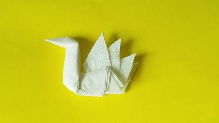 折纸王子餐巾纸天鹅,简单好玩,收藏留着教孩子