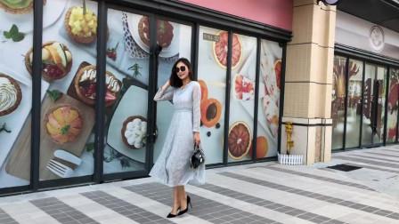 春装2019款女韩版,气质中长款V领,收腰蕾丝连衣裙,秋冬长袖打底裙子