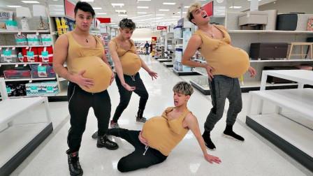 国外熊孩子假装怀孕恶搞路人,还向宝妈请教照顾宝宝小窍门!