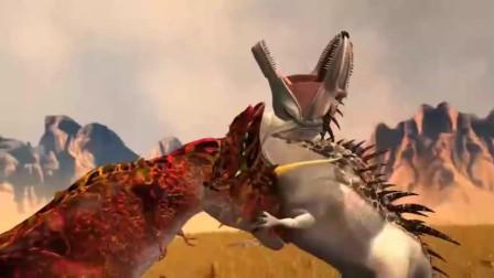 霸王龙与三角龙合体,威力无比 恐龙动漫特效