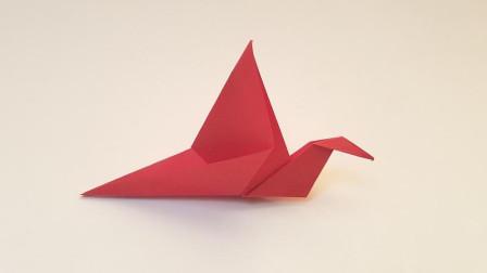 折纸王子展翅飞行的鸟,简单好玩,收藏留着教孩子