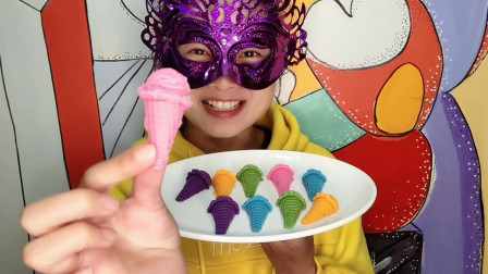 """小姐姐试吃""""冰淇淋巧克力"""",多姿多彩又香脆,味美甜香超好吃"""