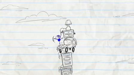 """油管上播放上亿的爆笑铅笔动画-蜡小贱为接电话""""掘地求生"""""""