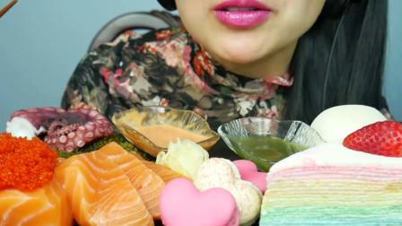 行旅天下 小姐姐吃三文鱼章鱼足,搭配甜点马卡龙,网友:咸甜味道的神奇搭配好吃吗