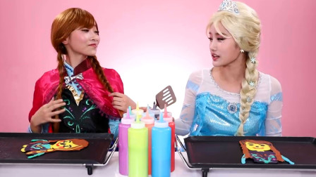 """小姐姐比赛用""""颜料""""在煎饼上画画,煎饼堪称艺术品,确定可以吃吗"""