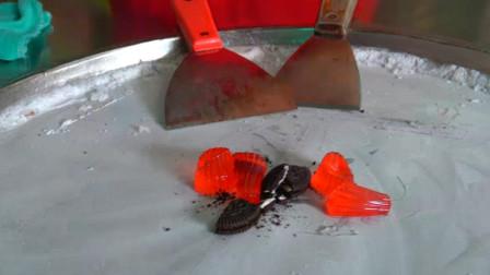 你见过奥利奥跟红色果冻炒冰淇淋吗?全程看得人想流口水,太诱人了