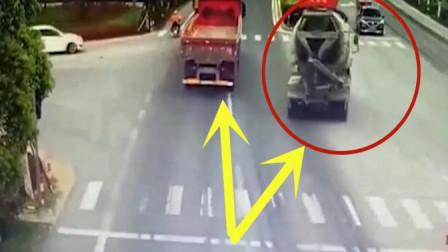 泥罐车司机半路车辆失控,监控拍下伟大司机舍身救人感人画面