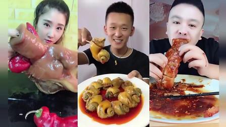 小鱼美食坊:小姐姐吃一个大猪脸,配着辣椒,又辣又香
