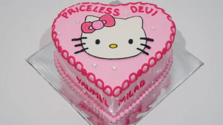 给女儿一个生日惊喜吧!零失败的凯蒂猫主题蛋糕,简单几步就能学会,好吃!