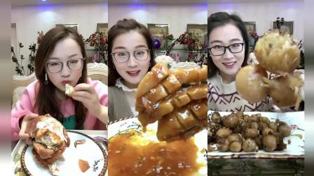 小鱼美食坊:小姐姐砸开面包蟹后,里面好多蟹膏,看着都鲜美
