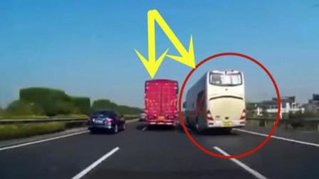高速路段大巴车司机任性别车,幸好大货车脾气好,不然后果不堪设想