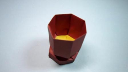 手工折纸,杯子的折法,迷你可爱简单易学,好有创意