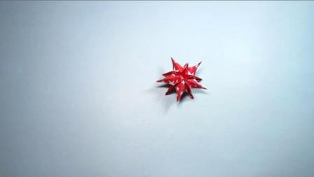 手工折纸,多层立体星星花的折法,一张纸就能折出来超漂亮