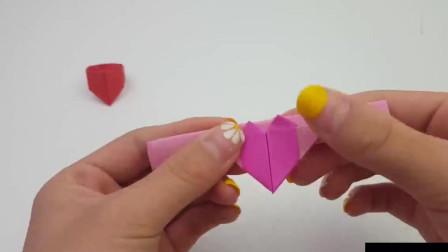 爱心戒指折纸一款又萌又见简单的手工折纸带满所有手指吧
