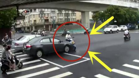 小伙骑电动车闯红灯,丝毫不考虑危险性,悲剧可就发生了