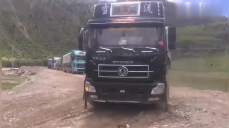 老司机开大货车过河!这大货车司机胆子真大 看得我竖起了大拇指