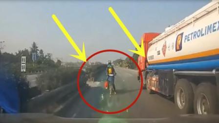 女子骑摩托车随意横穿马路,不料因为却丧了自己命