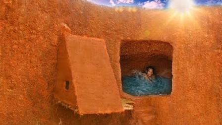 小伙离家出走,山腰设计豪华别墅加天窗泳池,豪华程度让人没的说