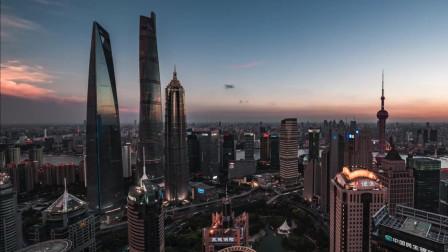 航拍东方巴黎上海城市夜景