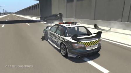 【汽车模拟游戏】警车准备逼停逃亡的越野车,反倒警车翻车了
