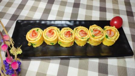 鸡蛋煎饼搭配一根火腿肠做成鸡蛋卷,放西红柿是关键