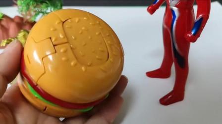 奥特曼组合,遇到会变形的汉堡机器人