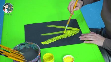 儿童绘画教学,用水粉颜料画麦穗,与老师一起享受成功的果实吧