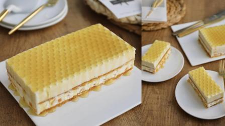 蜂蜜黄桃慕斯蛋糕,蜂窝状原来是这么做出来的