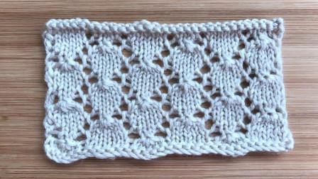 简洁有序的镂空小叶片,简单好织,很漂亮的春夏针织衫花样作品秀