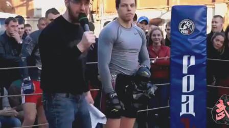 橄榄球运动员打MMA, 人狠话不多, 打拳像打球一样暴躁
